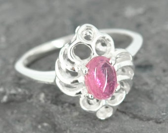 Tourmaline ring, sterling silver ring, gemstone ring, pink, oval, october birthstone, one of a kind
