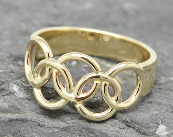 Olympic Ring, 10K yellow gold ring, custom made, Olympic jewelry, 2014, 2015, Rio 2016