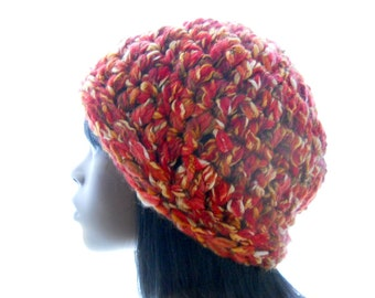 Wool - Blend Beanie, Crochet Beanie Hat in Red and Gold, Women's Hat, Medium to Large Size