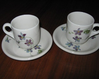 Two Chicago Burlington & Quincy Violets and Daisies Demitasse Cups and Saucers
