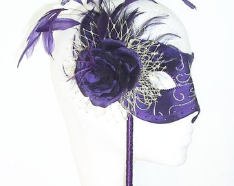 Purple and Gold Masquerade Ball Mask