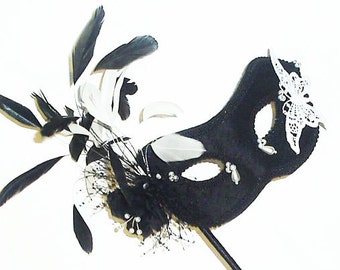 Black & White Masquerade Ball Mask