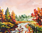 Reserved - Original 6x6 Autumn October Road Landscape Acrylic Canvas Painting