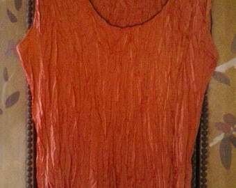 Orange irredescant crepey sleeveless top