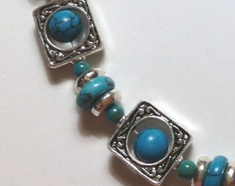 """Handmade 18"""" Turquoise HOWLITE NECKLACE  SILVER Accent Beads Hook Closure"""
