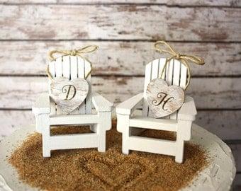 Adirondack beach wedding chairs-Adirondack chairs-wedding cake topper-beach chairs-beach wedding-destination wedding-beach-custom