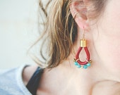 Marsala and amazonite Earrings with 14K gold-filled ear wires