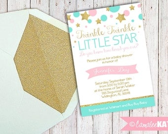 Twinkle Twinkle Little Star Baby Shower 5x7 Invitation - Custom Digital File - Pink and Glittery Gold