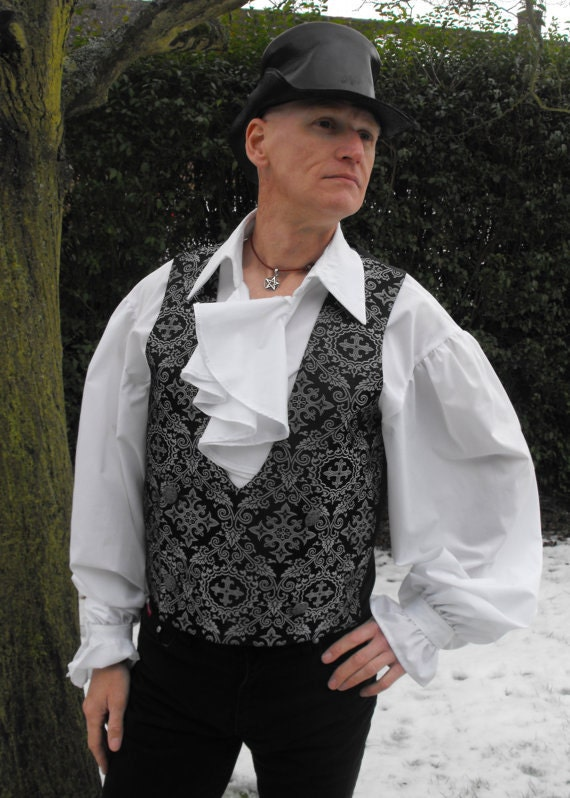 "Legendary Steampunk Goblin King Silver/Black Renaissance Brocade Waistcoat / Vest - 36 38 40 42 44 46 48 50 or 52"" Chest"