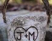 Personalized Rustic Birch Flower Girl Basket, Twig Handle Rustic Wedding