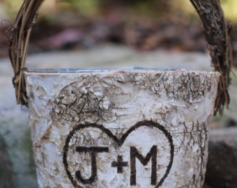 Personalized Rustic Birch Flower Girl Basket, Twig Handle Rustic Wedding