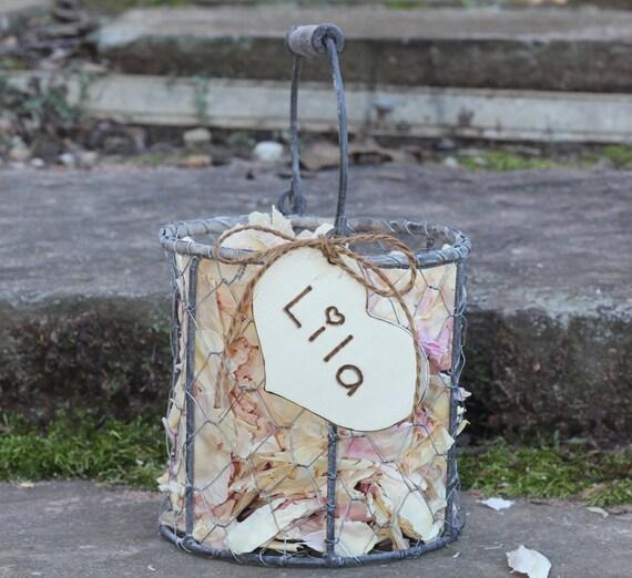 Custom For Mona-  Flower Girl Basket Personalized