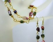 Watermelon Tourmaline 2 strand Bracelet SET, Gold plated, Wire Wrapped, Bracelet & Earrings, Gemstone SET,Gift Idea under 40, dangle earring