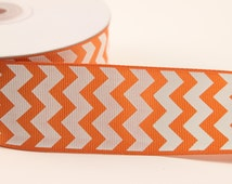 Orange Chevron Grosgrain Ribbon - 25 Yards - 1.5 Inch - party wedding favors, hair bows, scrapbooking