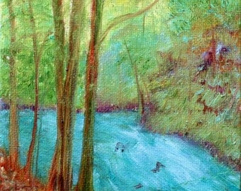 Hiking down by the Stream Impressionistic Oil Painting, Art Print, Wall Decor, Trees, Stream, Hiking