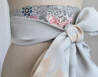 Grey japanese style obi belt, silk asian brocade obi sash, waist cincher, silk hand painted belt sash, obi belt sash