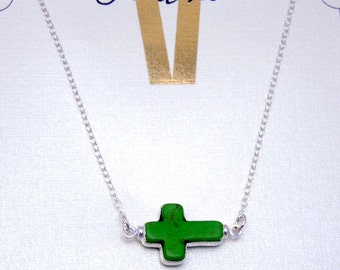 "Electroplated Silver Electroplated Green Sideways Cross on 16"" Silver Chain -SAMPLE SALE (S23B11-06)"