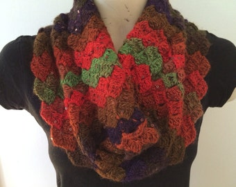 Cowl Scarf In Rainbow, Crocheted Colorful Cowl, Usa Seller