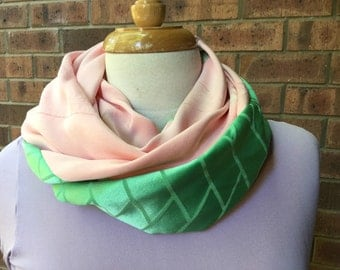 Silk infinity scarf, pink and green