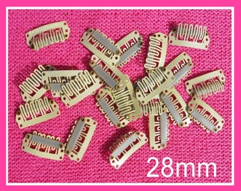 20 Snap Clips - 28mm Weddi8ng Veil Clips, Wig Clip - Creamy White Weft Clip for Hair Bows, Extensions, Baby Clips