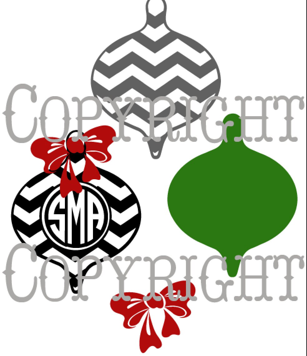 Chevron christmas ornament with place for monogram cut file