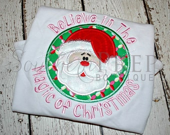 Believe in the Magic of Christmas - Christmas Applique shirt - Boys or Girls Design