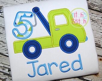 Tow Truck Birthday Shirt - 5th Birthday - FIVE Birthday Shirt - Boys Applique Designs