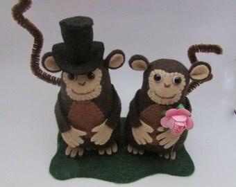 Monkey Wedding Cake topper - Bride and Groom Monkeys - Monkey Gift - FULLY CUSTOMISABLE