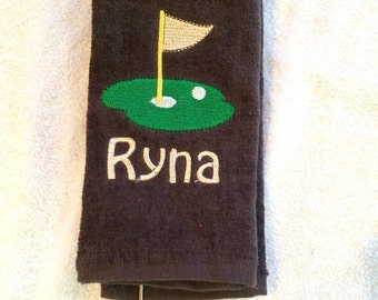 Golf, golf towel, personalized, golf gift, fathers day, Brown personalized golf towel