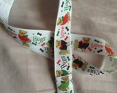 Pug lanyard - for dog lovers - grosgrain ribbon - made from a yard of ribbon with swivel clip attached