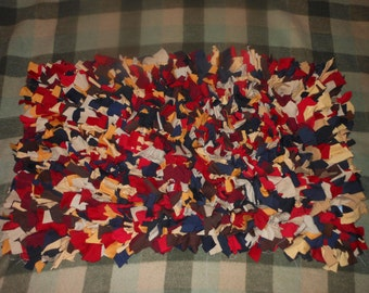 Recycled T Shirt Shag Rag Rug-Blue, Brown, Red, Tans, Gold-Rectangular