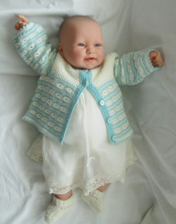 Knitting Baby Sweater Measurements : Baby sweater coat hand knit size m to aqua ivory lace