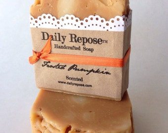 Pumpkin Soap Christmas Fall Handmade Bar Scented  Vegan Cold Process Soaps