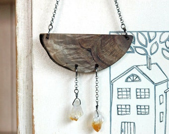 Natural wood necklace with citrine quartz,raw  gemstone necklace, geometric necklace