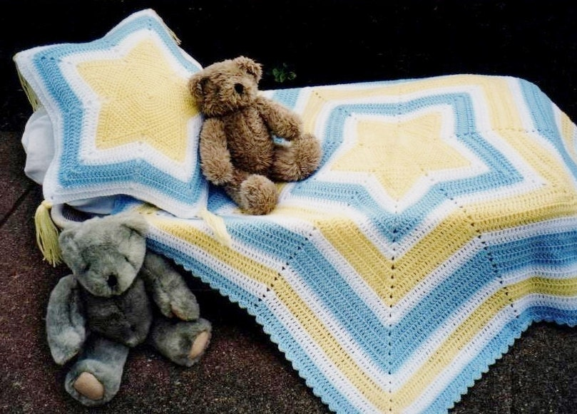 Pdf Pattern Crochet Baby Star Afghan Amp Matching Pillow Easy