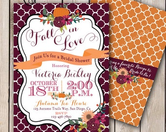 Fall Bridal Shower Invitation Autumn Bride Autumn Wedding Shower Pumpkin Wedding Shower Fall Florals Invitation 5x7 Printable