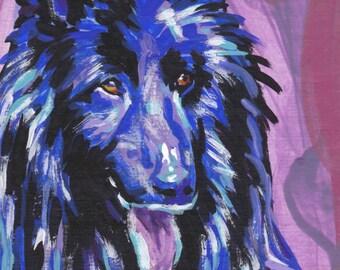 "Groenendael Belgian Sheepdog portrait print of pop dog art painting  bright colors 8.5x11"" LEA"
