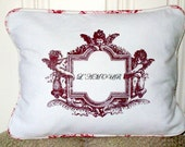 "shabby chic, feed sack, french country, vintage l'amour graphic with toile welting ORGANIC cotton 12"" x 16"" pillow sham."