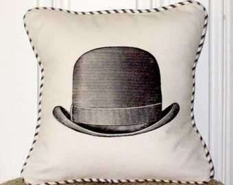 "shabby chic, feed sack, french country, vintage bowler hat graphic with french ticking welting 14"" x 14"" pillow sham."