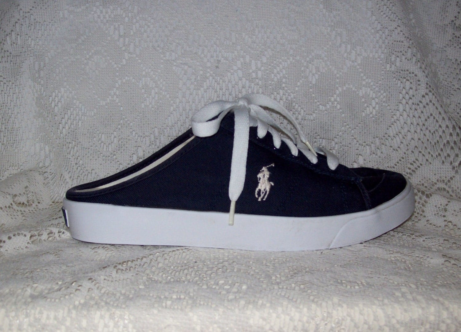 Vintage Ladies Navy Blue Canvas Mules Tennis Shoes By Ralph