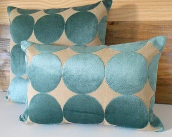Turquoise and tan velvet dots pillow, Dwell Studio plush dotscape peacock decorative pillow cover
