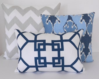 SALE Designer pillow cover, Windsor Smith for Kravet,  xu garden indigo,  navy trellis lumbar pillow