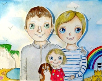 Illustrated Custom Family Portrait 8 x 10 inches