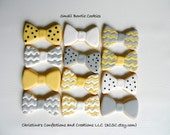 Bow Tie cookies for Baby shower or Birthday or for Dad - Hand Decorated sugar cookie bowties (2305)