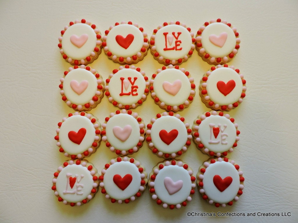 Hearts and Love on sma... Round Birthday Sugar Cookies