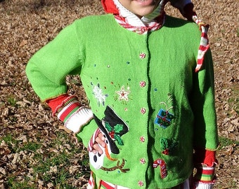 Girls medium Christmas elf fairy hoodie and matching skirt ready to ship