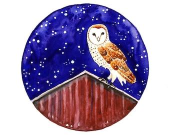 Barn Owl Original Watercolor painting Owl art illustration