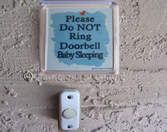 Do Not Ring Doorbell Sign because Baby Sleeping