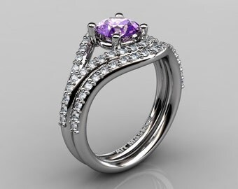 Nature Inspired 10K White Gold 1.0 Ct Lilac Amethyst Diamond Classic Vine Engagement Ring Wedding Band Set R517S-10KWGDLAM