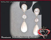 Pearl drop earrings ~ Sterling silver posts ~  Long ~ Elegant ~ Bridal Jewelry ~ Brides earrings  ~ High quality  ~ BEST SELLER ~ Classic ~